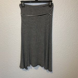 LuLaRoe Striped Azure Midi Skirt
